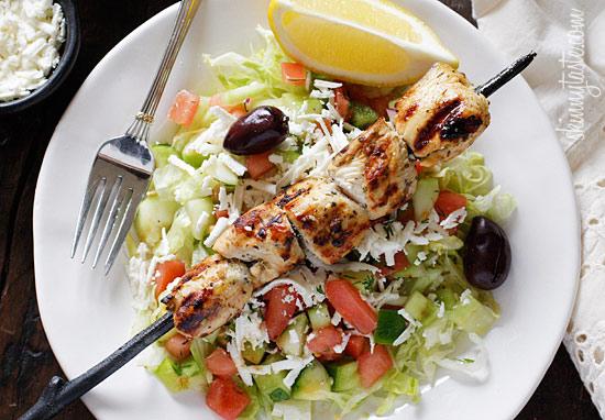 Mediterranean Chicken Kebab Salad from Skinnytaste.com